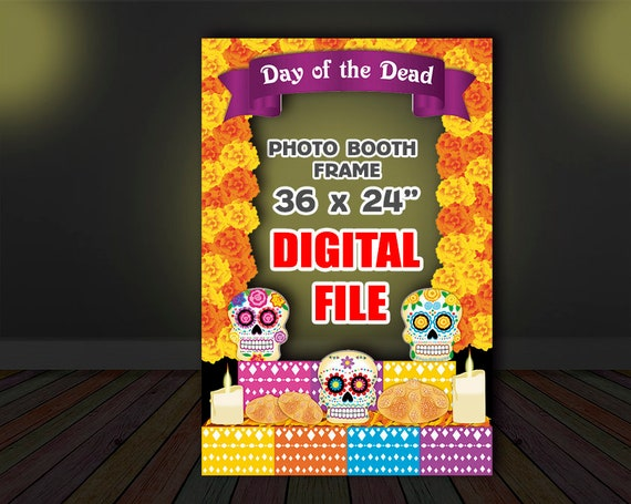 Digital Day Of The Dead Photo Booth Frame Sugar Skull Photo Etsy