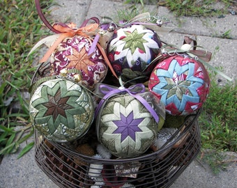 Instant Download - No Sew Ornament PDF Pattern Pack  - 2 Styles of Folded Fabric Ornaments - Make & Sell