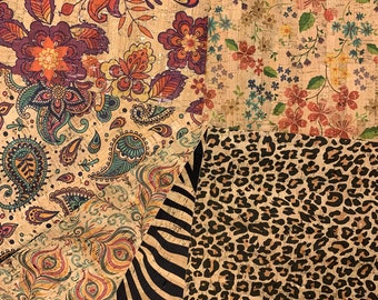 Natural Cork Fabric - Many Prints Available