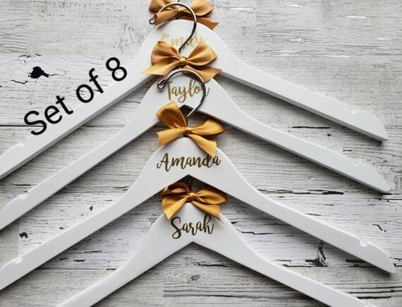 Personalized Wedding Hangers Set of 8 Wedding Dress Hanger Black Wood Bridesmaid Hanger