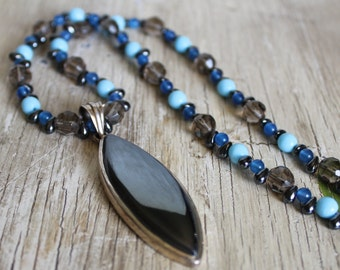 Hematite and Silver Pendant Necklace / Blue and Grey Glass Beads / Gifts for Her / Gifts for Women / Unique Necklace / Hematite Necklace