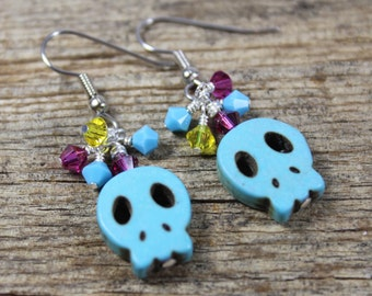 Turquoise Skull Earrings with Pink and Yellow Swarovski Crystal / Skull Earrings / Gifts for Her / Gifts for Women / Dangle Earrings