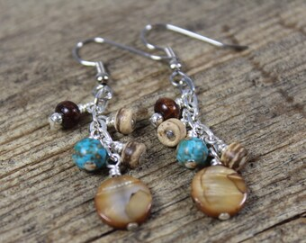 Dangly Mother of Pearl Shell, Mosaic Turquoise, and Wood Earrings / Turquoise Earrings / Gifts for Her / Gifts for Women / Dangle Earrings