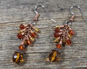 Copper Orange Honey Yellow Dangle Cascading Earrings / Swarovski Crystal, Czech Glass / Orange Earrings / Copper Earrings / Gifts for Her