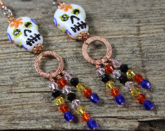 Sugar Skull, Crystal, Copper Chandelier Earrings / Big Earrings / Skull Earrings / Sugar Skull Earrings / Halloween Earrings / Gifts for Her