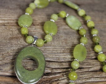Olive New Jade Necklace with Swarovski Crystal / Pendant Necklace / Olive Green / Gemstone Necklace / Gifts for Her / Gifts for Women