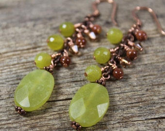 Olive and Copper Dangly Stone Earrings / Copper Earrings / Dangle Earrings / Gifts for Her / Gifts for Women / Olive Green / Green Earrings