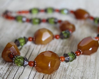 50% OFF CLEARANCE / Chunky Faceted Yellow Agate, Olive Green Glass, Copper, and Carnelian Necklace / Gemstone  / Gifts for Her / Statement