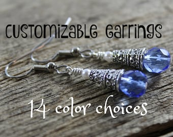 Earrings / Customizable Bridesmaid Gifts / Czech Glass, White Swarovski Crystal Pearls / Simple  Earrings / Custom / Gifts for Her