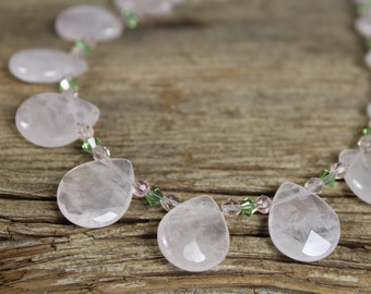 Pink Rose Quartz Faceted Teardrop and  Peridot Green Swarovski Crystal Necklace / Pink and Green / Gemstone / Rose Quartz / Gifts for Women