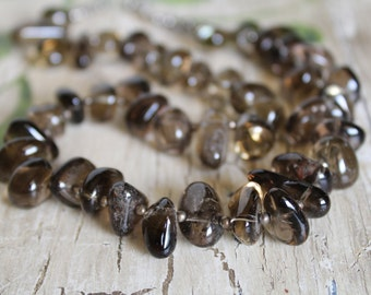 Smoky Quartz Chunky Nugget Choker Necklace and Earring Set / Jewelry Set / Gemstone Choker / Gifts for Her / Gifts for Women / Unique Gift