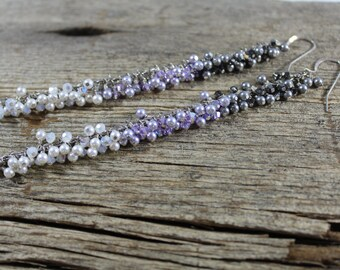 50% OFF CLEARANCE / Silver, Lavender and White Ombre Earrings / Swarovski Crystals and Pearls / Super Long Dangle / Sterling Silver