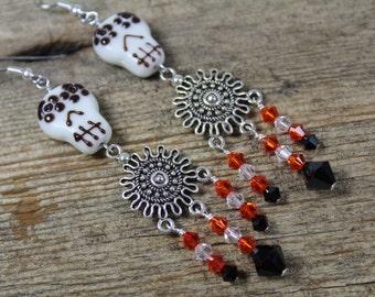 White, Black, Orange Black Sugar Skull Earrings / Big Earrings / Skull Earrings / Sugar Skull Earrings / Halloween Earrings / Gifts for Her