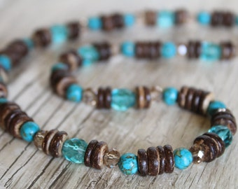 Blue and Brown Earthy Sparkly Necklace and Earring Set / Blue Necklace / Gifts For Her / Gifts for Women / Earthy Jewelry / Jewelry Set