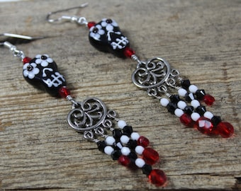 Red, White, and Black Sugar Skull Earrings / Big Earrings / Skull Earrings / Sugar Skull Earrings / Halloween Earrings / Gifts for Her