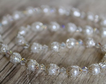 Glass Pearl, Swarovski Crystal, Silver Bridal Necklace and Earring Set / Jewelry Set / Pearl Necklace / Affordable / Simple Necklace