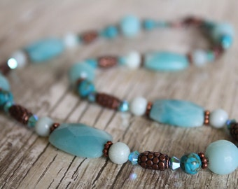 Light Blue Amazonite, Mosaic Turquoise, Copper, and Swarovski Crystal Necklace and Earring Set / Gifts for Her / Blue Necklace / Copper