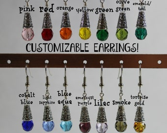 Earrings / Customizable Bridesmaids Gifts / 14 Color Choices /Czech Glass and Clear Swarovski Crystal / Custom Bridesmaid Gifts / Simple