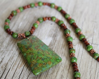 Green Mosaic Turquoise, Copper, Wood, Goldstone Necklace / Lime, Chartreuse, Brown, Copper / Gifts for Her / Unique Necklace / Gemstone