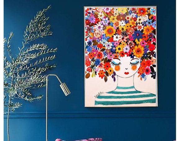 flower girl dream abstract painting by Jolina Anthony