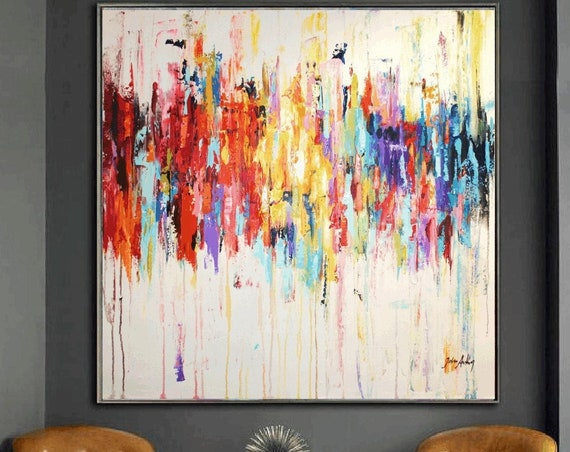 """multicolor abstract painting 48""""  textured  large abstract painting by Jolina Anthony"""