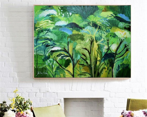 tropical garden  abstract paintingnice livingroom abstract art  by jolina anthony oil painting