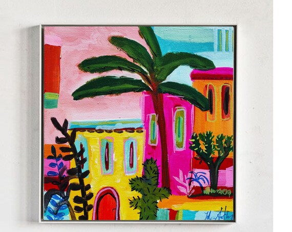 colorful Mallorca island abstract painting  nice  Wall Art  by Jolina Anthony