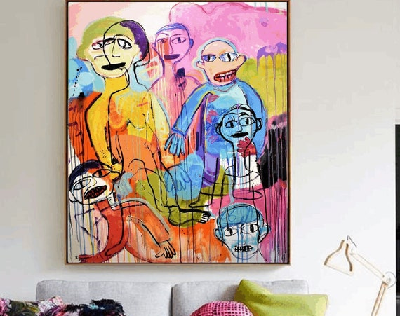 the friends     abstract  painting  by   Jolina Anthony