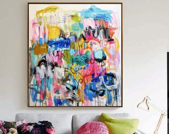 life with art is good for you  abstract  painting by Jolina anthony