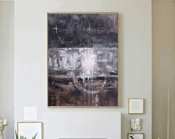 large abstract art  brown large abstract painting black  wall art canvas    nice Abstract Painting  perfect acrylic  by jolina anthony