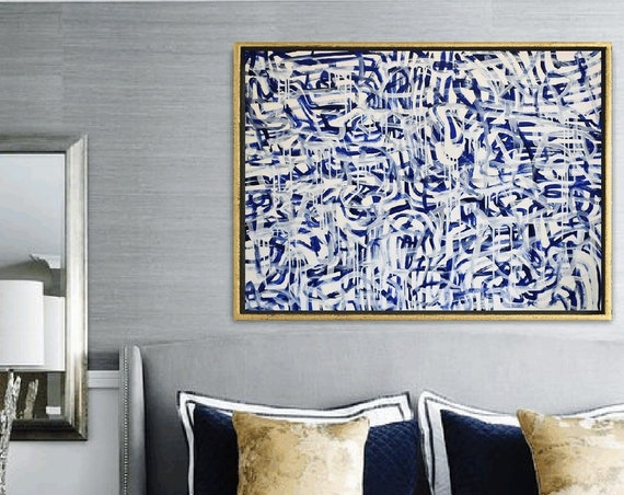 blue, creme  abstract painting   modern ready to hang original painting,by   Jolina Anthony