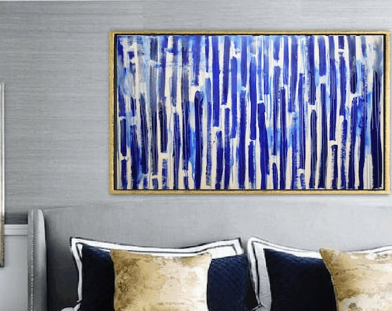 blue stripes  abstract painting by  jolina anthony
