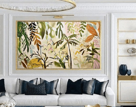 tropic green garden      abstract painting nice  original painting