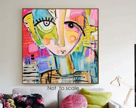 """abstract painting  """"thinks""""   white original painting  by Jolina Anthony"""