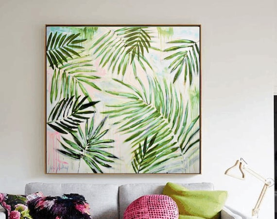 abstract painting ,green garden  original painting , nice large abstract painting