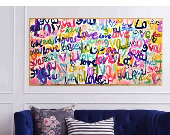 abstract painting,glitter love  original painting  by Jolina Anthony