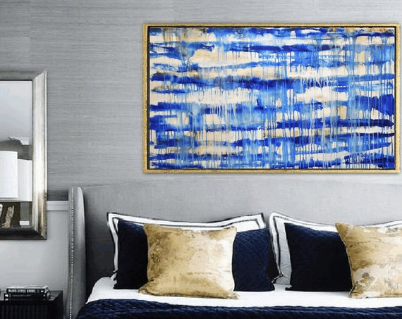 blue white  abstract painting nice  original painting by Jolina Anthony, abstract art