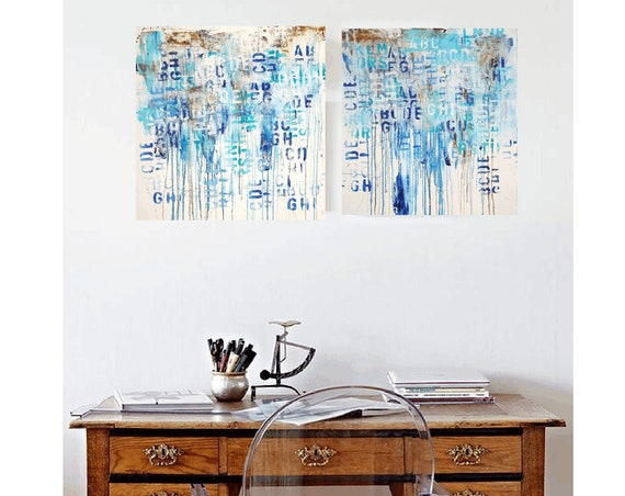 letters blue abstract painting, nice  large painting colorful original painting interesting oil painting , jolina anthony abstract art