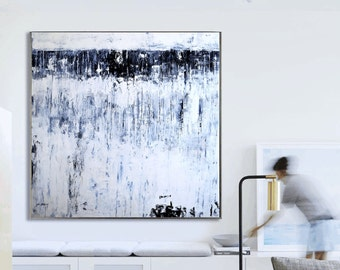 abstract Painting blue white painting nice large painting   by, jolina Anthony