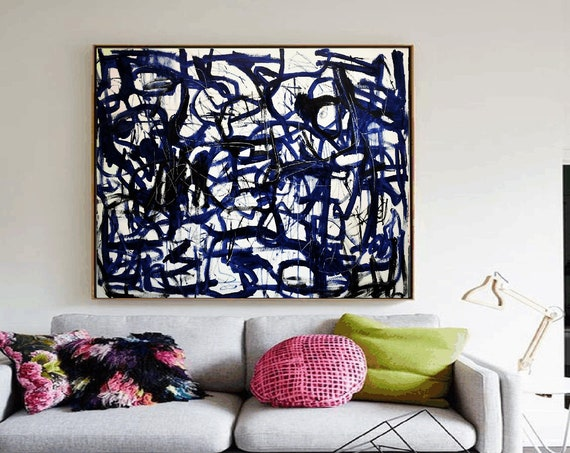 blue black white  creme   abstract  painting  very nice  painting by Jolina Anthony