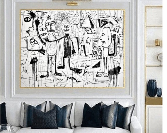 black white  abstract  painting,nice abstract art   by   Jolina Anthony