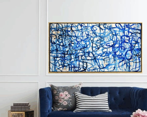 blue white  brown  abstract painting by Jolina Anthony