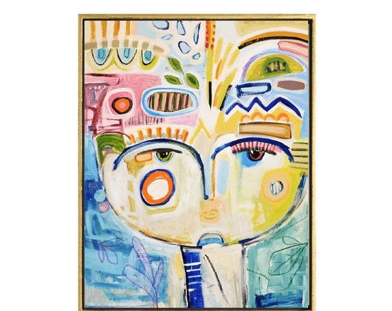 colorful face  abstract painting nice  original painting by Jolina Anthony, abstract art