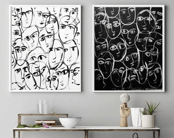 black and white abstract painting black   white   by   jolina anthony