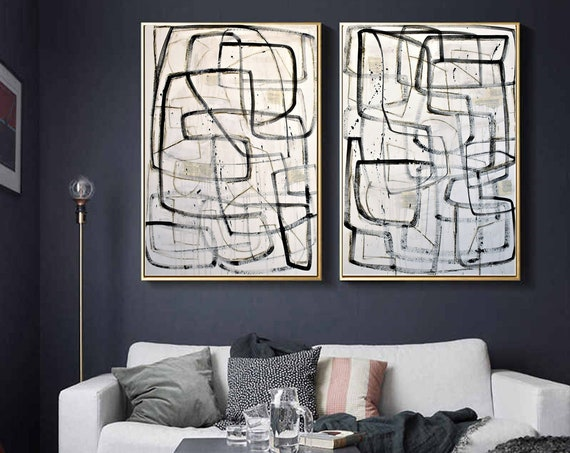 black textured white set of  abstract painting by jolina anthony oil painting