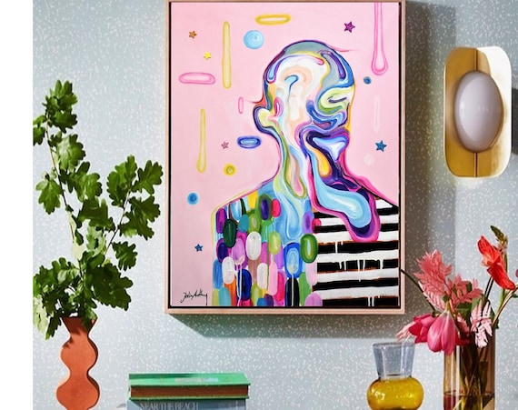 sureal Face mixed media   abstract painting nice painting by jolina anthony
