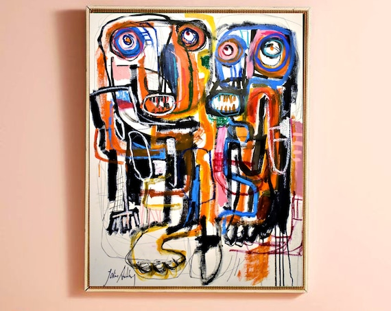 figures brut art  abstract  painting  , nice large  painting,colorful  abstract art   by  Jolina Anthony
