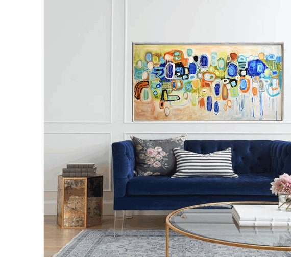 "colorful abstract painting, 64"" abstract art multicolor large painting nice original painting"