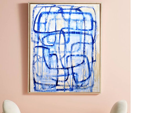 blue  large Abstract painting wunderful  original painting by  Jolina Anthony a beautifull