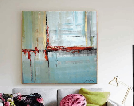 "48""   abstract Painting  blue  nice  oil painting  from   Jolina Anthony"